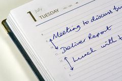 Today's Diary. Diary open showing appointments Stock Photo
