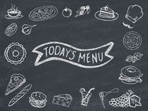 Today's menu. Written on blackboard Royalty Free Stock Photos