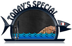 Today's Special - Seafood Menu. Blackboard with dark blue frame in the shape of fish and serving dome with text Today's Special, cutlery, sea waves, fishing net Royalty Free Stock Photography