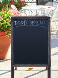 Today's Special: sign. Today's Special sign written in chalk on a sandwich board sign outside of restaurant or cafe stock photos