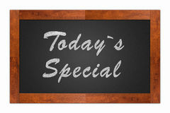 Today`s Special. Written with chalk on a isolated blackboard with wooden frame Royalty Free Stock Photography
