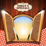 Today's Specials - Menu on Wooden Window Royalty Free Stock Photos