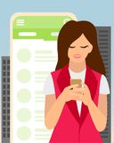 Modern girl talking on messenger. In today s world, people often hang in messengers. Modern society. Catchy illustration in pastel colors Stock Photo