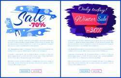 Only Today Winter Final Sale Off Promo Posters Set. Only today winter sale - 30 off promo poster on blue brush strokes vector illustration final banner with Royalty Free Stock Photo