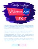 Only Today Winter Sale - 30 Off Promo Web Poster. On blue brush strokes vector illustration isolated with place for text. Advertisement xmas label design Stock Images