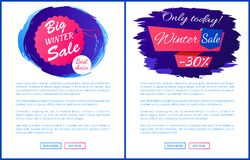 Only Today Winter Sale - 30 Off Promo Posters Set. Only today winter sale - 30 off promo web posters on blue brush strokes vector hanging tag label on landing Royalty Free Stock Photography
