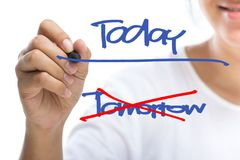 Today. Woman underline Today word on screen (Motivation concept royalty free stock photography
