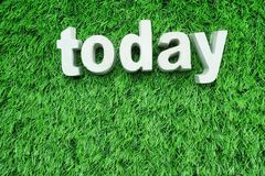 today word alphabet letter on green artificial grass background royalty free stock photo