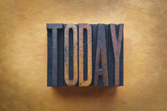 Today. The word TODAY written in vintage letterpress type Stock Photography