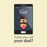 Today you call your dad. Fathers Day Card. Stock Images