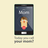 Today you call your mom. Mother Day Card. Cartoon character. Stock Image