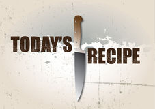 Todays Recipe. A landscape format background with text spelling out today's recipe set on a grunge style background with a sharp kitchen knife used as a symbol Stock Images