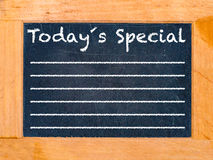 Todays Special chalk board. Vintage chalk table stock photo