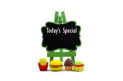 Todays special. Today special word on wooden easel isolated on white royalty free stock photography