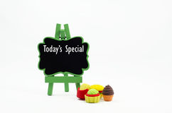 Todays special. Word todays special on wooden easel for use restaurant stock photos