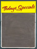 Todays Specials Board. Well used black chalkbaord advertising Todays Specials stock photos