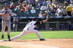 Todd Helton stretches for an out. Colorado Rockies first basemen Todd Helton stretches for an out against the dodgers royalty free stock image