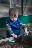 Todder, das im Garten spielt lizenzfreies stockfoto