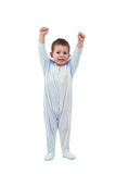 Toddle in pajamas. Whit hands up,  isolated on white Stock Photo