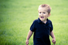 Toddler. A toddler playing in grass with cute expression Stock Photos