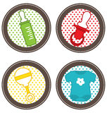Toddler accessories icons Stock Photos