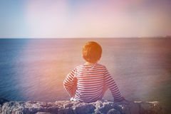 Toddler admiring the sea Royalty Free Stock Photo