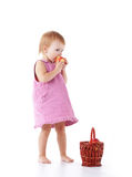 Toddler with apples in basket Royalty Free Stock Photo