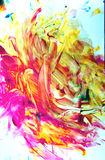 Toddler art in red, orange and yellow stock photos