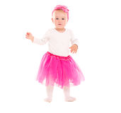 Toddler baby girl in pink tutu skirt. Isolated on white background royalty free stock image