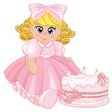 Beautiful baby doll with a birthday cake vector illustration