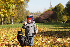Toddler with backpack Royalty Free Stock Image