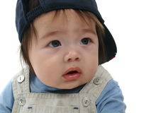 Toddler in baseball cap. Portrait of cute young male toddler in baseball cap, white studio background Stock Photos