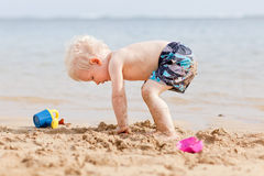 Toddler at a beach Stock Photos