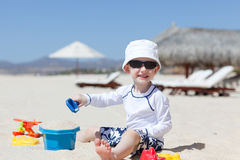 Toddler at the beach Stock Photo
