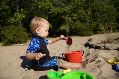 Toddler at Beach Stock Photos