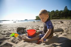 Toddler at Beach Royalty Free Stock Photo