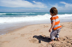 Toddler on Beach Royalty Free Stock Images