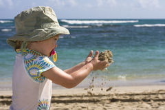 Toddler on the Beach stock photography