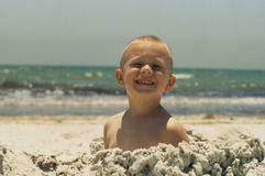 Toddler at the beach royalty free stock photos