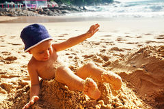 Toddler at a beach Stock Photography