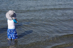 Toddler on Beach in water Royalty Free Stock Photos