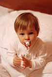 Toddler in bed Stock Image
