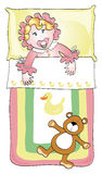 Toddler bed. Illustration depicting a newborn in his crib with a teddy bear rag Royalty Free Stock Image