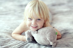 Toddler in bedroom Royalty Free Stock Photos
