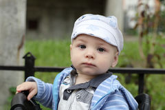 Toddler on bicycle Stock Image