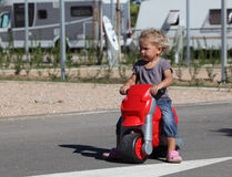 Toddler with bike Royalty Free Stock Photos