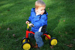 Toddler with bike Royalty Free Stock Photography