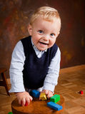 Toddler with blocks Royalty Free Stock Images