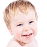 Toddler blond and blue eyes boy child with various facial expres Stock Photo