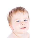 Toddler blond and blue eyes boy child with various facial expres Royalty Free Stock Photos